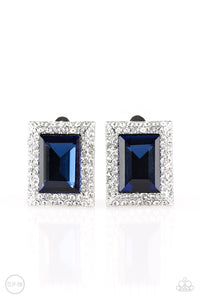 "Paparazzi Clip-on Earrings ""Crowned Couture"" - Blue"
