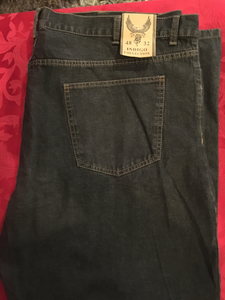 MEN Jeans by Indigo, Distressed, Black, Size 48x32