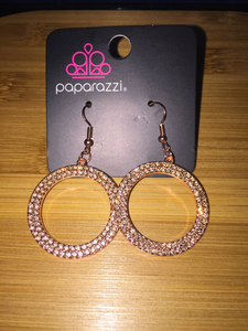 "Paparazzi Earrings ""Glistening Gold"" - Rose Gold"