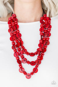 "Paparazzi Necklace ""Barbados Bopper"" - Red"