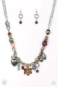 "Paparazzi Necklace ""Charmed I'm Sure"" - Brown/Silver"