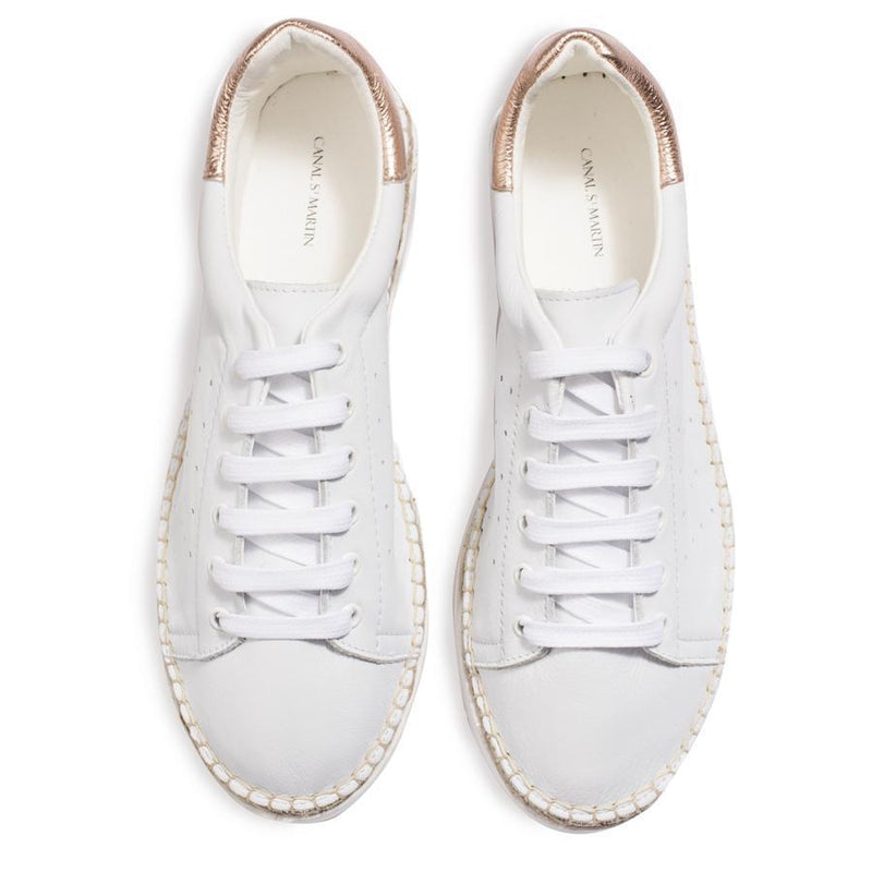 BASKET ESPADRILLE - BLANC/OR ROSE-CHAUSSURES FEMME-Curling-Paris