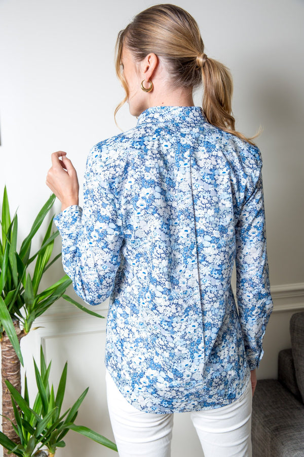 Chemisier Canelle en coton Liberty of London - Fleurs bleu-CHEMISIER FEMME-Curling-Paris