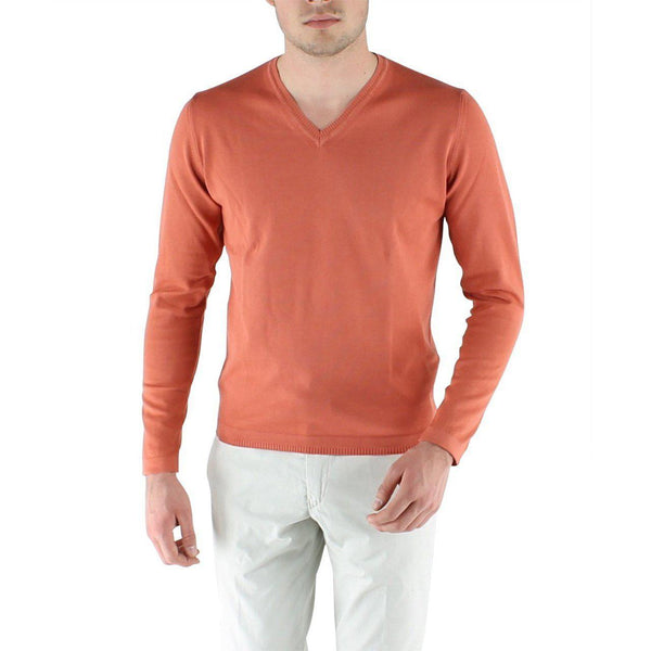 PULL EN COTON COL V - ORANGE-PULL HOMME-Curling-Paris