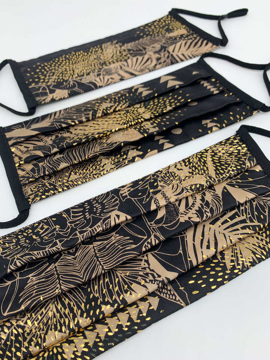 Sophie Darling Silk Screen Printed Tencel Face Mask Black And Gold