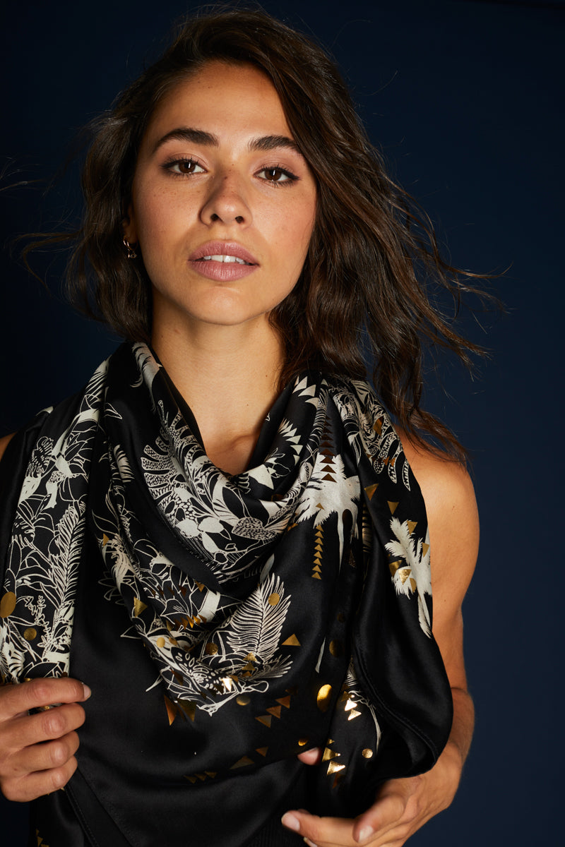 Black Hand Printed Tropical Satin Silk Silk Scarf - Large