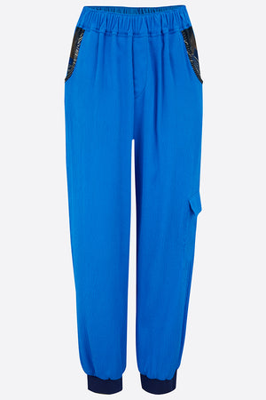 Blue hammered silk joggers front view
