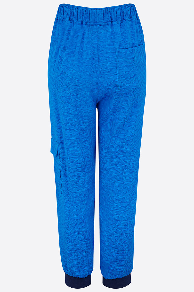 Blue hammered silk joggers back view