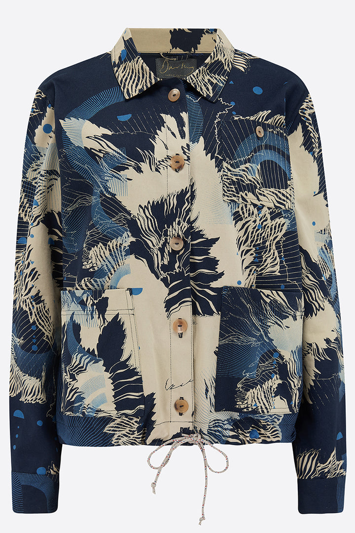 Carla Hand Printed Cotton Utility jacket front view