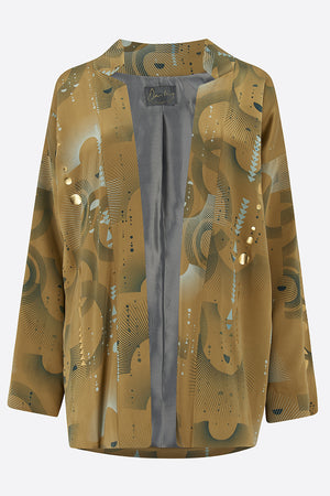 Sophie Darling Gold Ray Hand Printed Satin Silk Tippi Jacket