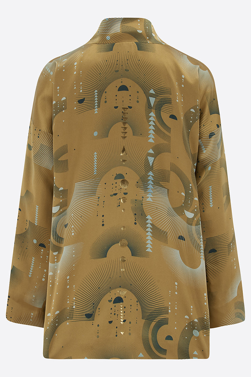 Sophie Darling Gold Ray Hand Printed Satin Silk Tippi Jacket back view