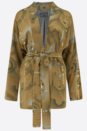 Sophie Darling Gold Ray Hand Printed Satin Silk Tippi Jacket front view