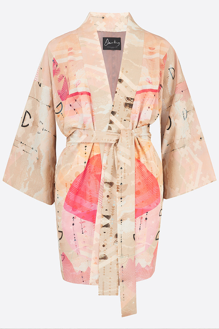 Sophie Darling Cream Love Print Tencel Kimono With Coral Detail