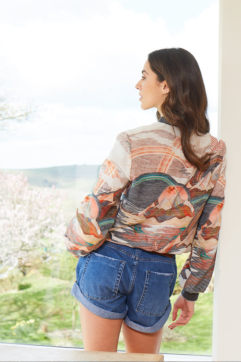 Mary Silk Bomber Jacket back view