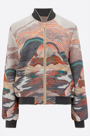 Mary Silk Bomber Jacket front view