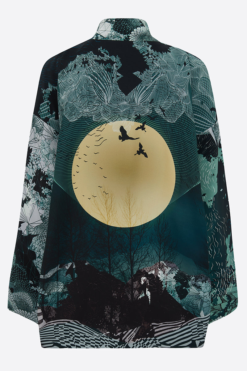 New Moon Satin Silk Tippi Jacket back view