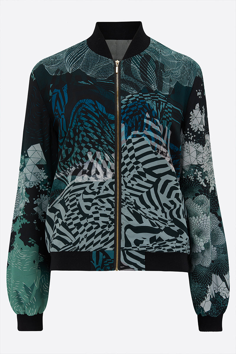 Sophie Darling New moon Silk Bomber Jacket front view