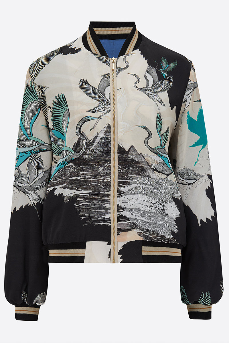 Sumi Silk Bomber Jacket front view