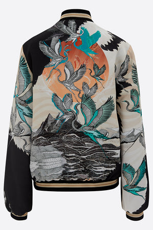 Sumi Silk Bomber Jacket back view