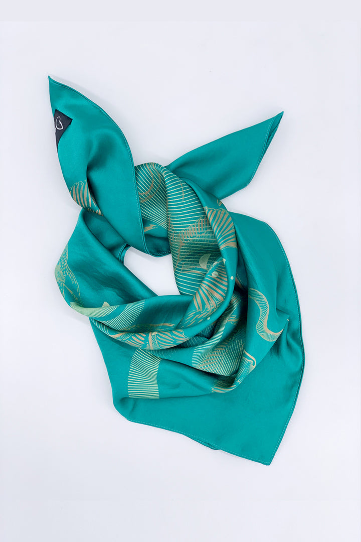 Turquoise Hand Printed Silk Scarf - Small