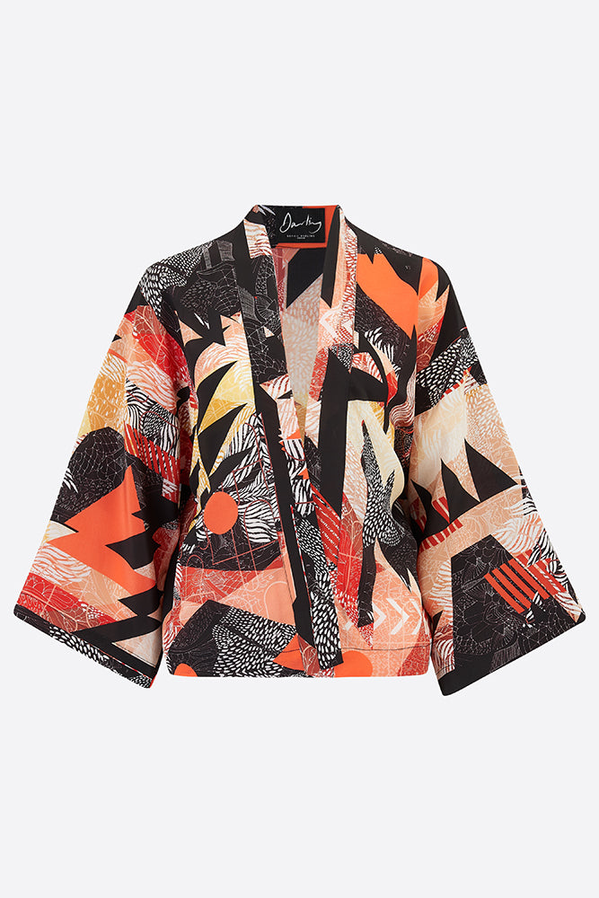 Silk hanten jacket in black and orange