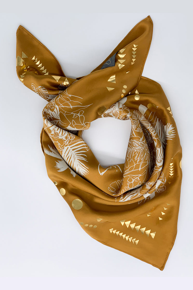 Gold Hand Printed Tropical Satin Silk Scarf - Small