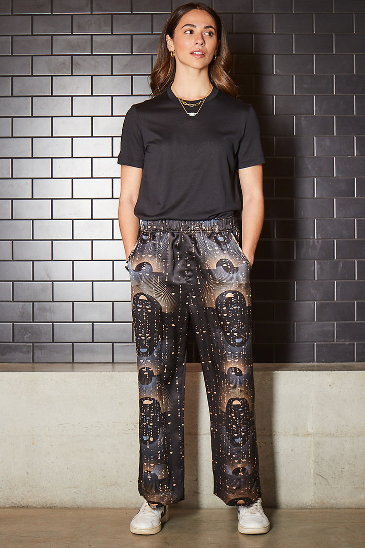 Sophie Darling Ray Hand Printed Silk Trousers