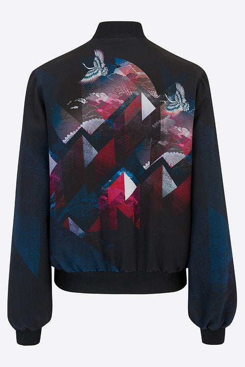 Silk bomber jacket in blue red intricate design