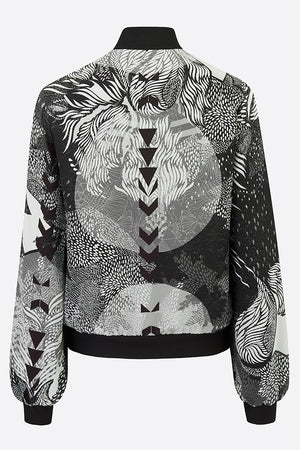 silk bomber jacket in intricate black and white design