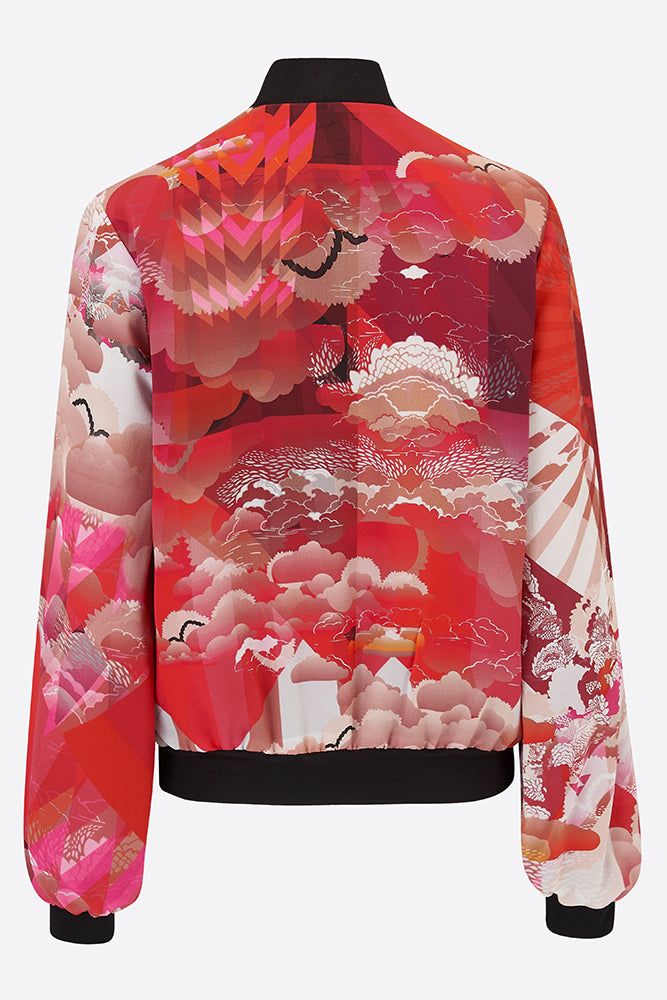 silk bomber jacket in russet orange and white cloud design