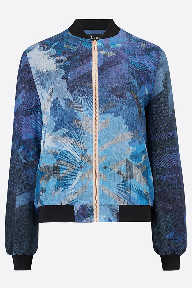 Silk bomber jacket in blue and black