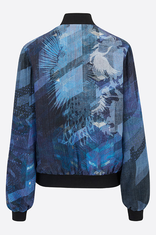 Denim Blues Silk Bomber Jacket-Bomber Jacket-Sophie Darling Design