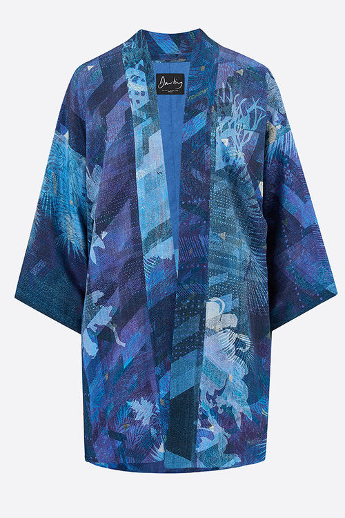 Denim Blues Moroccain Silk Haori Jacket-Sophie Darling Design