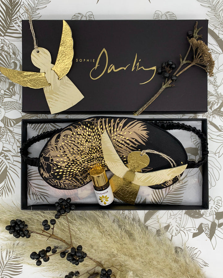 Sophie Darling Luxury Silk Eye Mask Tropical Print Black And Gold Gift Set