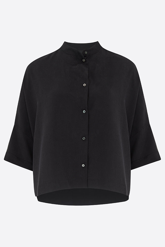 Black Tailored Tencel Shirt