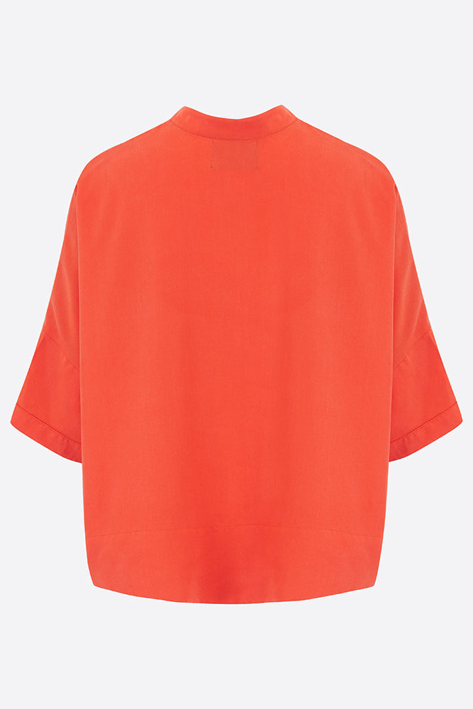 Sophie Darling Coral Red Tencel Shirt Back
