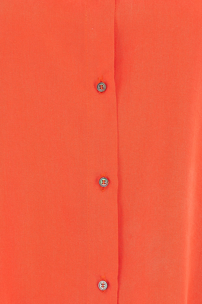 Sophie Darling Coral Red Tencel Shirt Close uP