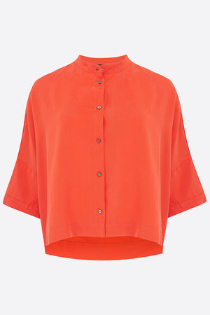 Coral Red Tailored Tencel Shirt
