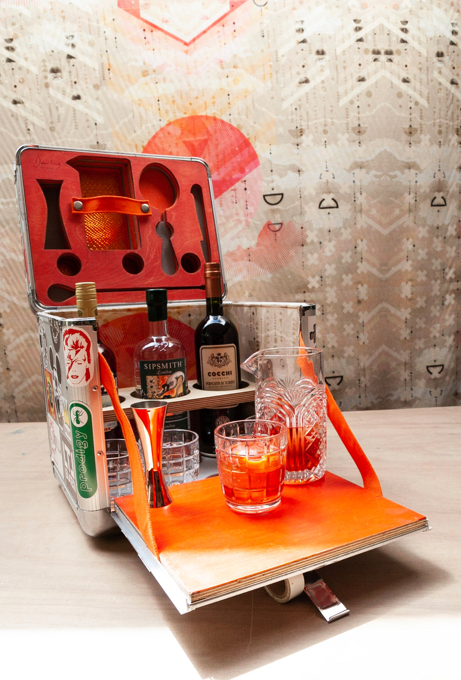 Sophie Darling Vinyl Box Converted Into Negroni Cocktail Mixbox Love Print Interior