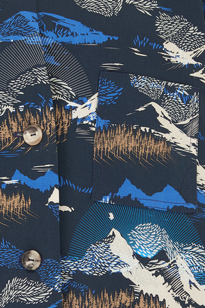 Sophie Darling Blue Jude Print Tencel Tailored Yohji Suit jacket Mountain Print
