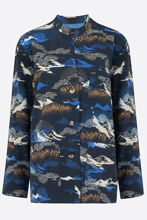 Sophie Darling Blue Jude Print Tencel Tailored Yohji Suit jacket