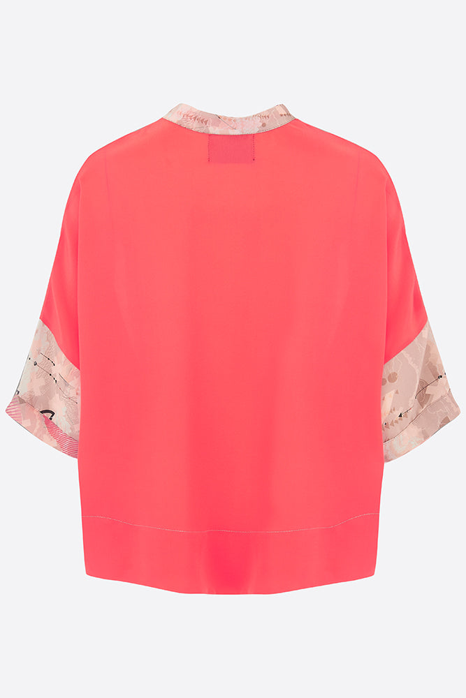 Sophie Darling Silk Crepe De Chine Love Print Shirt Coral Back View