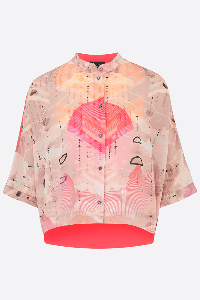 Sophie Darling Silk Crepe De Chine Love Print Shirt