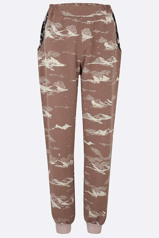 Sophie Darling Hand Printed Pink Mountain Tencel Joggers