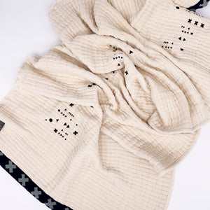 Embroidered Waffle Rib large Wool Ecru Scarf With Hand Printed Trim White And Blue