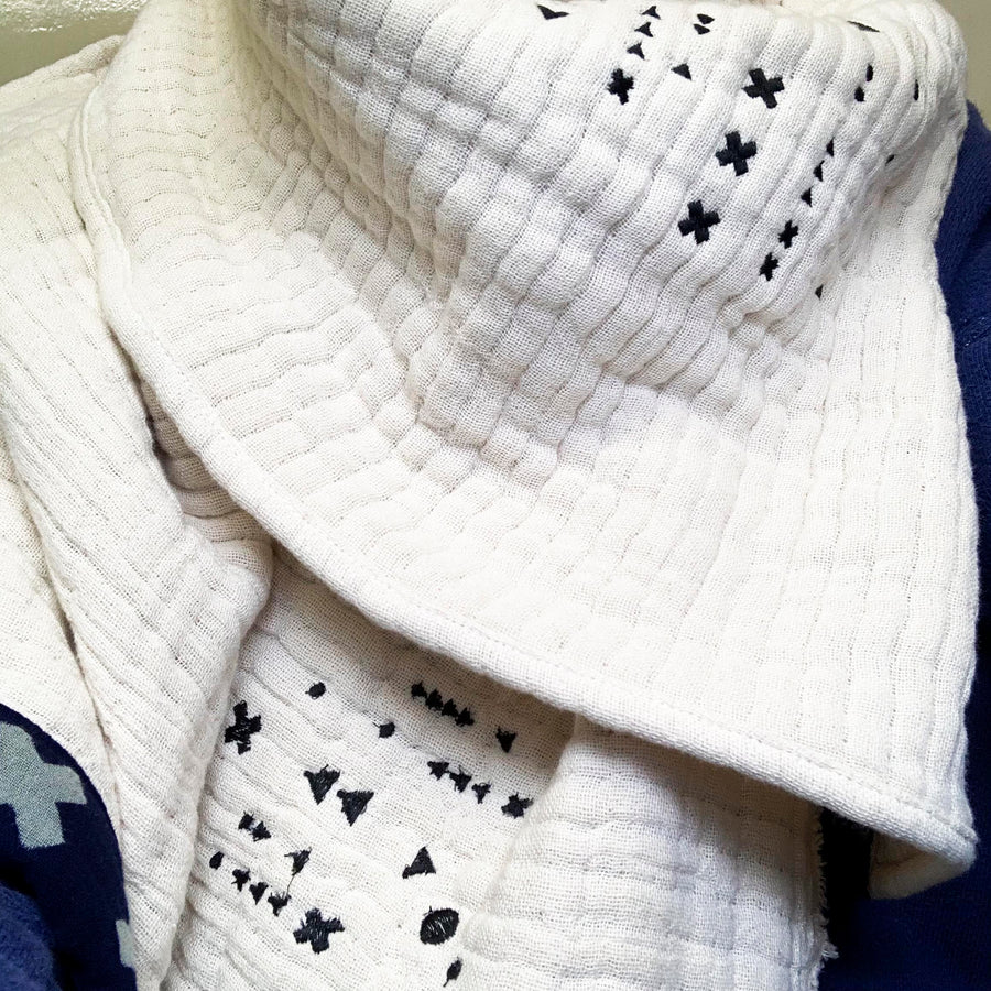 Embroidered Waffle Rib large Wool Ecru Scarf With Hand Printed Trim