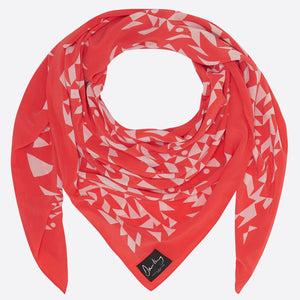 Crepe de Chine Coral Red Scarf - Large