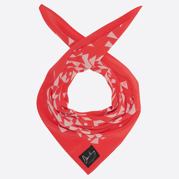 Sophie Darling Small Coral Red Hand Screen Printed Silk Crepe De Chine Scarf