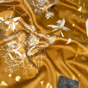 Sophie Darling Gold Hand Printed Tropical Print Small Satin Silk Scarf Close Up