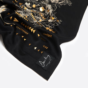 Sophie Darling Hand Printed Satin Silk Large Black Tropical Print Scarf With Geometric Gold Details